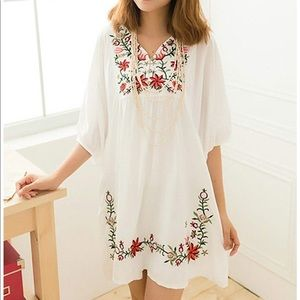 Dresses & Skirts - Mexican style dress- embroidered top